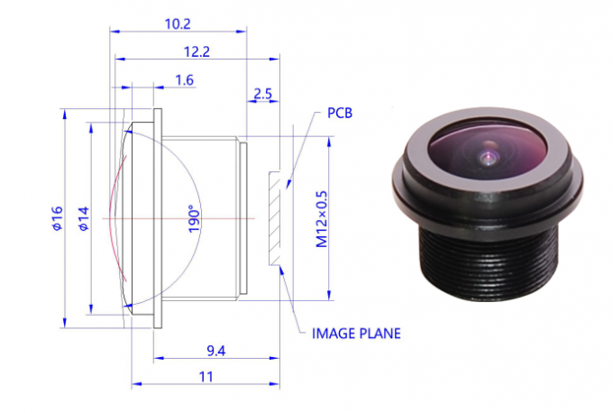 F2.4 HD 190° Wide Angle Aerial Camera Lens For Car Dvr Lens Camera 7 Gram Weight