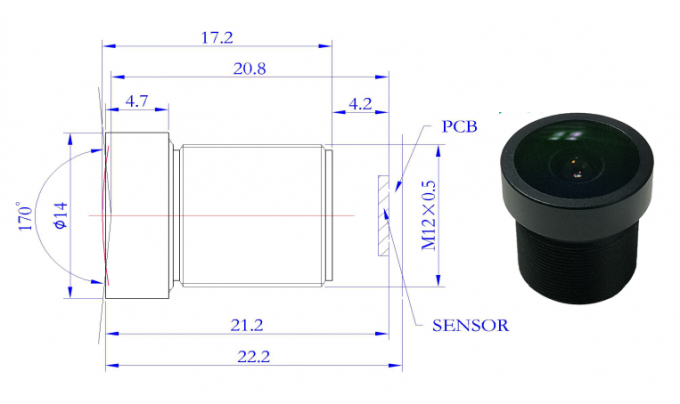 Day And Night IR Series Megapixel Cctv Lens , Aerial Fisheye Camera Lens