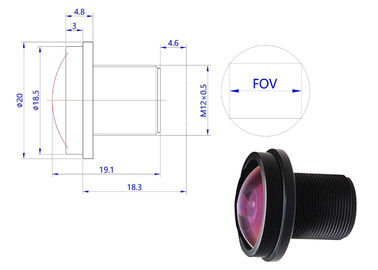 190 Wide Degree Fisheye Camera Lens , ROHS Fish Eye Mini